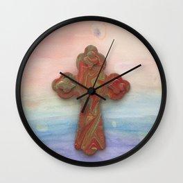 Celtic Cross Watercolor Wall Clock
