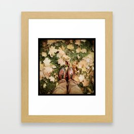 Shoes And Leaves Framed Art Print