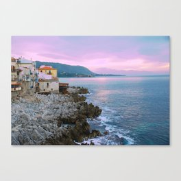 Cefalu Italy Coast Sunset Canvas Print