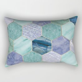 Gold trimmed seafoam hexagons Rectangular Pillow