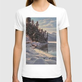 Winter Sunrise Lakeside in the Mountains by Ivan Fedorovich Choultsé T-shirt