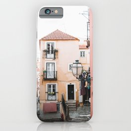 Cute Street with Old, Colorful Houses in Alfama, Lisbon, Portugal | Travel Photography | iPhone Case