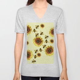 Yellow Sunflowers and Honey Bees Summer Pattern Unisex V-Neck