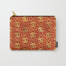 Luxury Oriental Gold on Red Koi Fish Pattern Carry-All Pouch