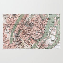Vintage Map of Copenhagen Denmark (1888) Rug