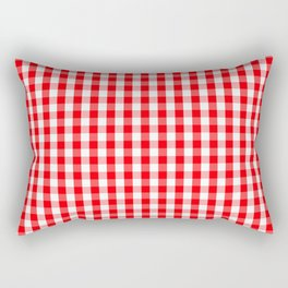 Large Christmas Red and White Gingham Check Plaid Rectangular Pillow