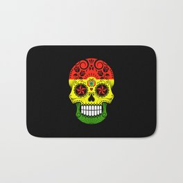 Sugar Skull with Roses and Flag of Bolivia Bath Mat