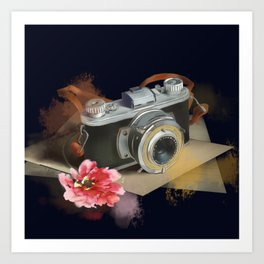 romantic photo camera Art Print