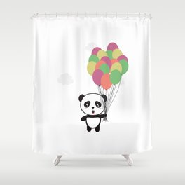 Panda with colorful balloons Shower Curtain