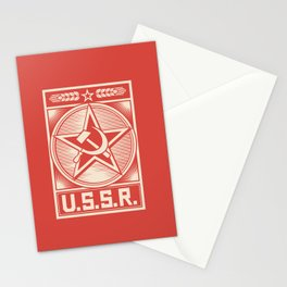 star, crossed hammer and sickle - ussr poster (socialism propaganda) Stationery Cards