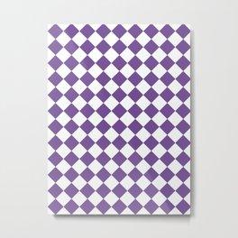 Diamonds - White and Dark Lavender Violet Metal Print