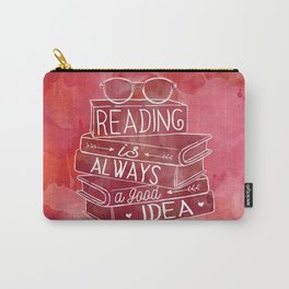 Reading is Always a Good Idea - Red Carry-All Pouch