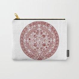 Aztec Calendar // Maroon Carry-All Pouch