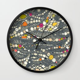 iguana skin indigo pop Wall Clock