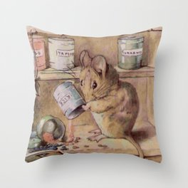 Naughty little mouse! Throw Pillow