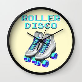 70's and 80's Throwback Funny Vintage Retro Roller disco Wall Clock