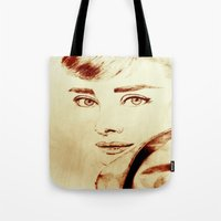 audrey hepburn Tote Bags featuring Audrey Hepburn by Farinaz K.