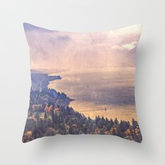 Forest River Water - Cape Horn Washington Columbia River Gorge Throw Pillow