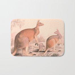 Vintage Kangaroo Family Illustration (1849) Bath Mat