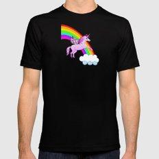 Unicorn and Rainbow Black Mens Fitted Tee MEDIUM