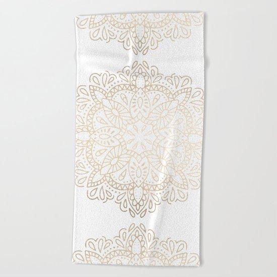 Mandala White Gold Shimmer by Nature Magick Beach Towel
