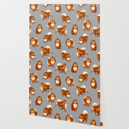 Pomeranian Pattern (Gray Background) Wallpaper