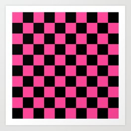 Black and Pink Checkerboard Pattern Art Print