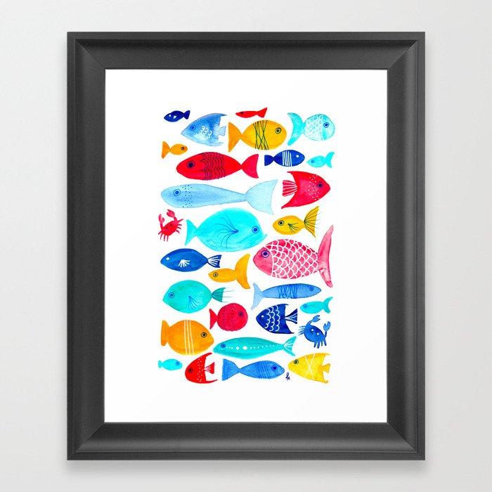 Fish Pattern - Ocean - Nautical - Sea - Swim - Crabs - Summer Gerahmter Kunstdruck