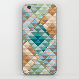 Triangle Patter No.15 Shifting Teal and Yellow iPhone Skin