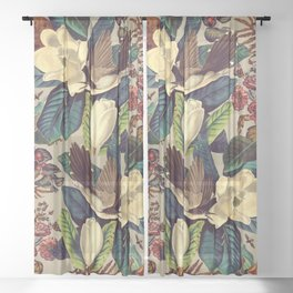FLORAL AND BIRDS XXI-II Sheer Curtain