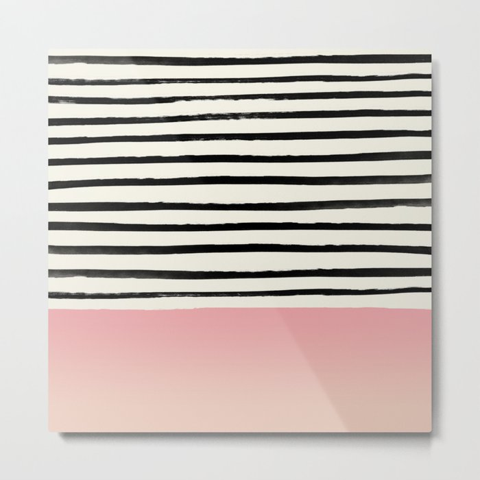 Blush x Stripes Metal Print