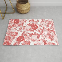 Red Roses on White Floral Pattern Rug