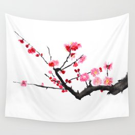 red plum flower Wall Tapestry