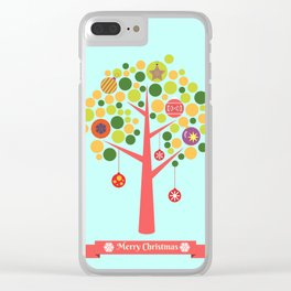 Christmas tree illustration Clear iPhone Case
