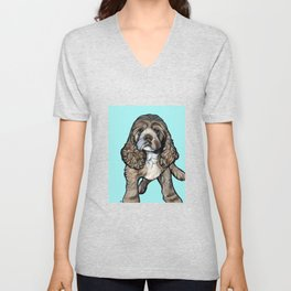 Lego the Cocker Spaniel Unisex V-Neck