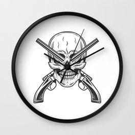 Vintage monochrome bandit gangster skull with crossed hunting sawn-off shotgun modern print Wall Clock