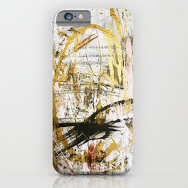 Armor [9]:a bright, interesting abstract piece in gold, pink, black and white iPhone Case