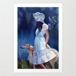 Girl with a dog Art Print