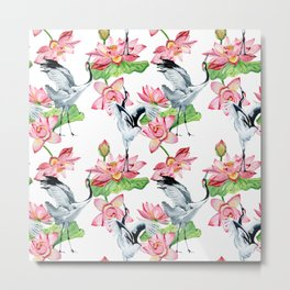Pattern with cranes and lotuses Metal Print
