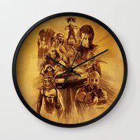 mad max Wall Clocks featuring Homage to Mad Max by Giorgio Finamore
