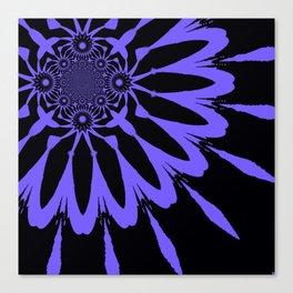 The Modern Flower Black & Periwinkle Canvas Print