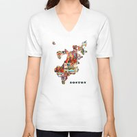 boston V-neck T-shirts featuring boston map by bri.buckley