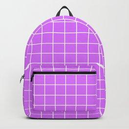 Heliotrope - violet color - White Lines Grid Pattern Backpack