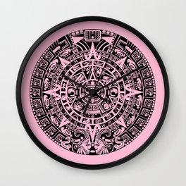 Mayan Calendar // Pink Wall Clock