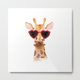 Funny watercolor giraffe in sunglasses - Lovely animals hand paited illustration Metal Print