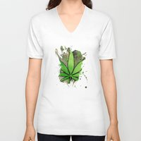 weed V-neck T-shirts featuring Weed Leaf by Spooky Dooky