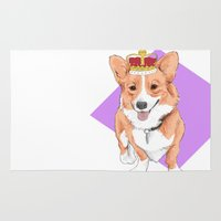 corgi Area & Throw Rugs featuring Royal Corgi by Emma Nicol Illustration
