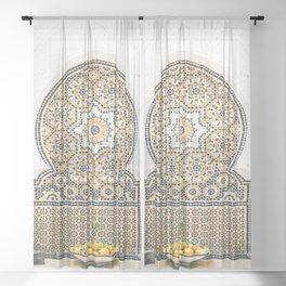 Mosaic fountain Sheer Curtain