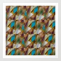 minerals Art Prints featuring Glow Geometry Minerals Pattern by mb13