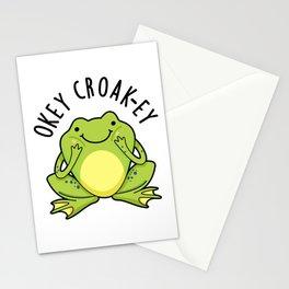 Okey Croak-ey Cute Croaking Frog Pun Stationery Cards